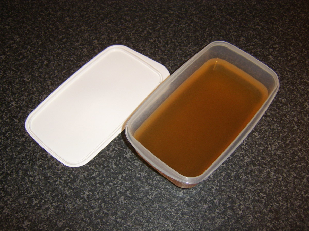 Fish stock should be poured in to a plastic dish with a lid before either being refrigerated or frozen