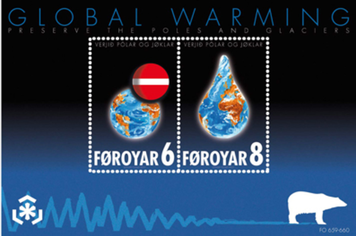 Global Warming stamps from the Faroe Islands
