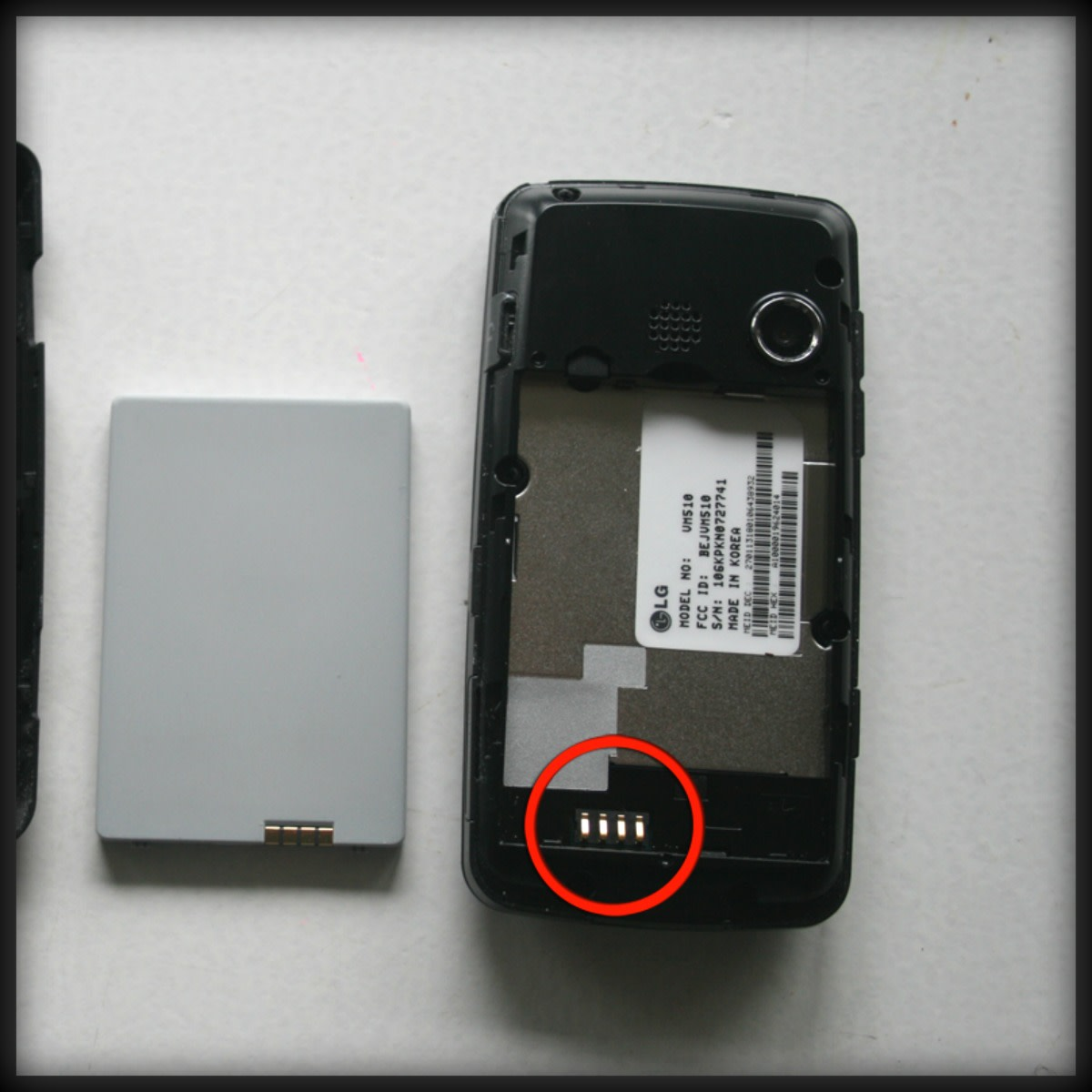 LG Rumor Touch battery terminal is located in the back of the phone. The terminals are where the battery connects to the phone to provide the power.