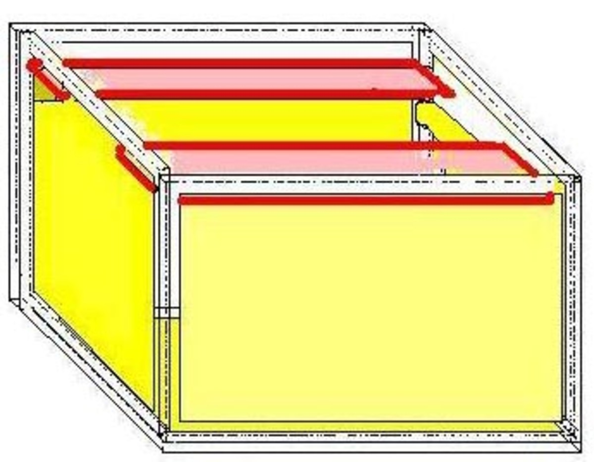 The cover supports are in red to show the small depth of about quarter inch