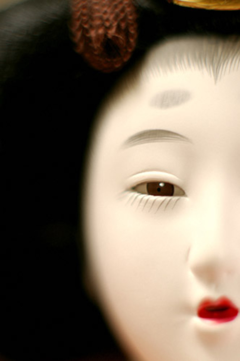 Detail of Gofun doll face shows individual expression with traditional makeup. Tiny brushes are used to create individual hairs of eyelashes and brows.