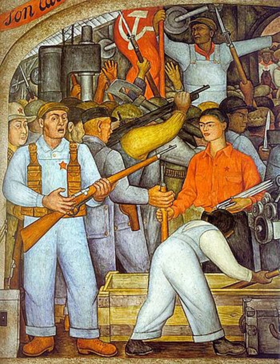 En el arsenal (detail from mural) in Mexico 1928.  Depiction of peasants fighting for independence in 1910.