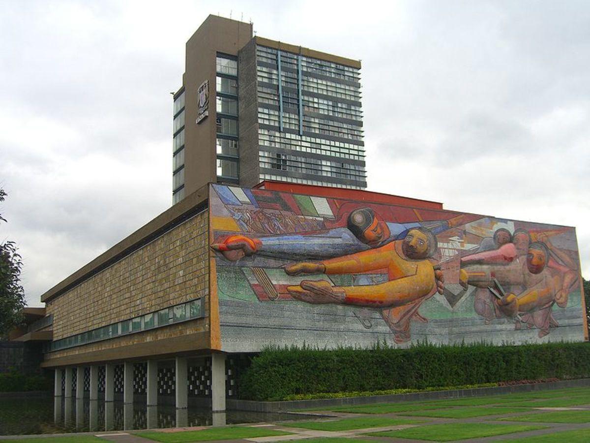 """Mural by David Siqueiros; """"El Pueblo a la universidad, la universidad al pueblo""""  National Autonomous University of Mexico  1952-56."""