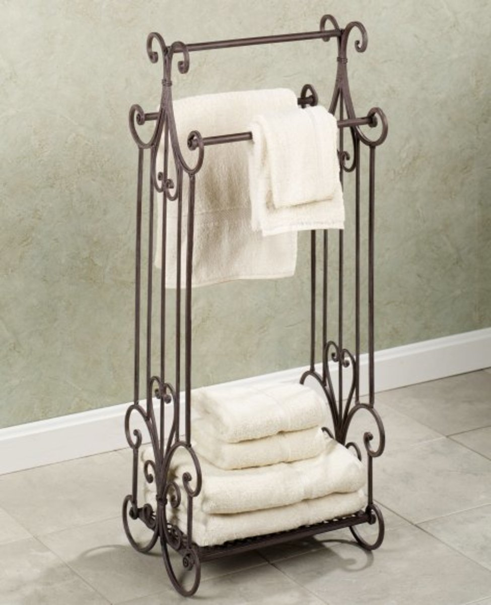 free standing towel rack can help save space.