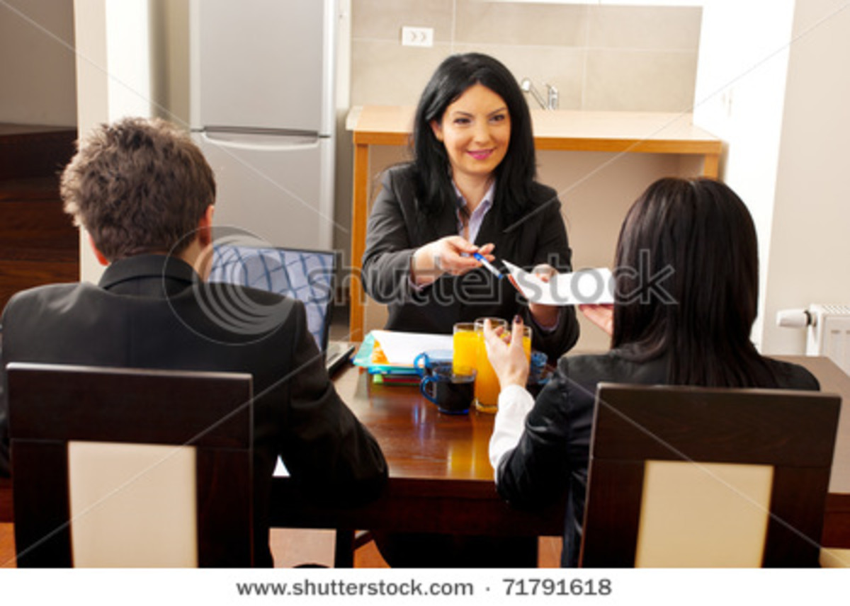 A woman interviewing for a job