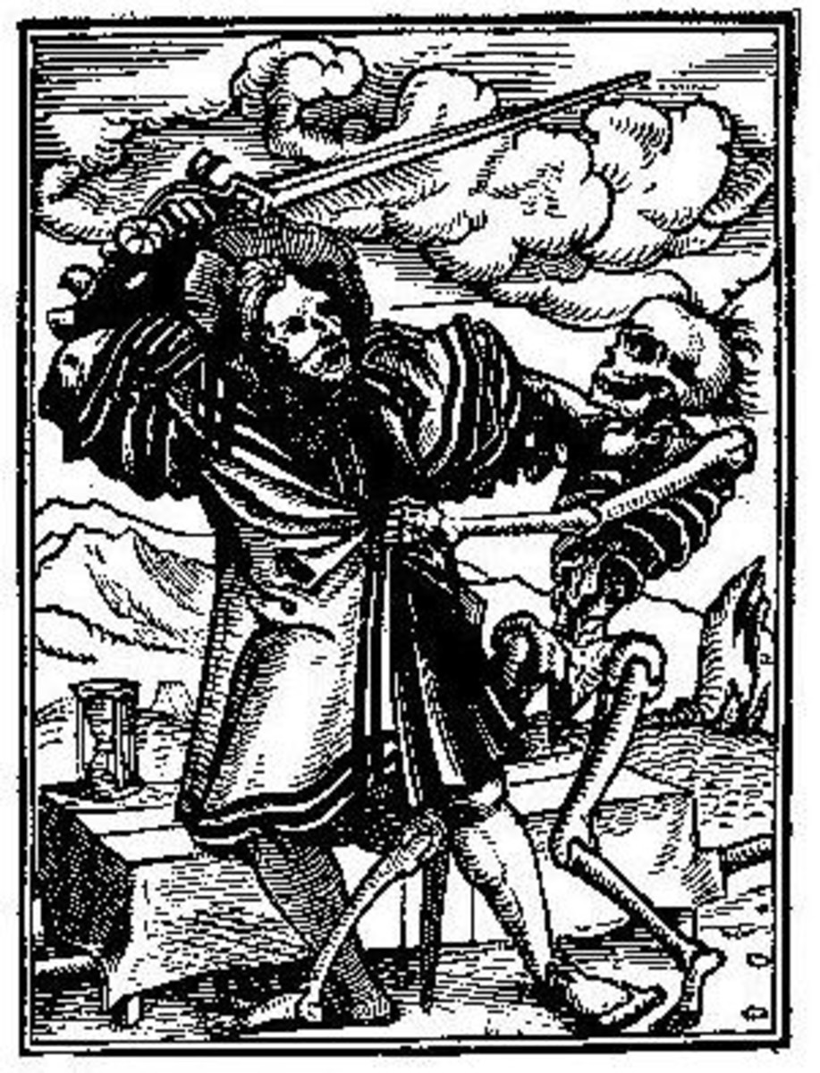 An illustration of Everyman's fight with Death.