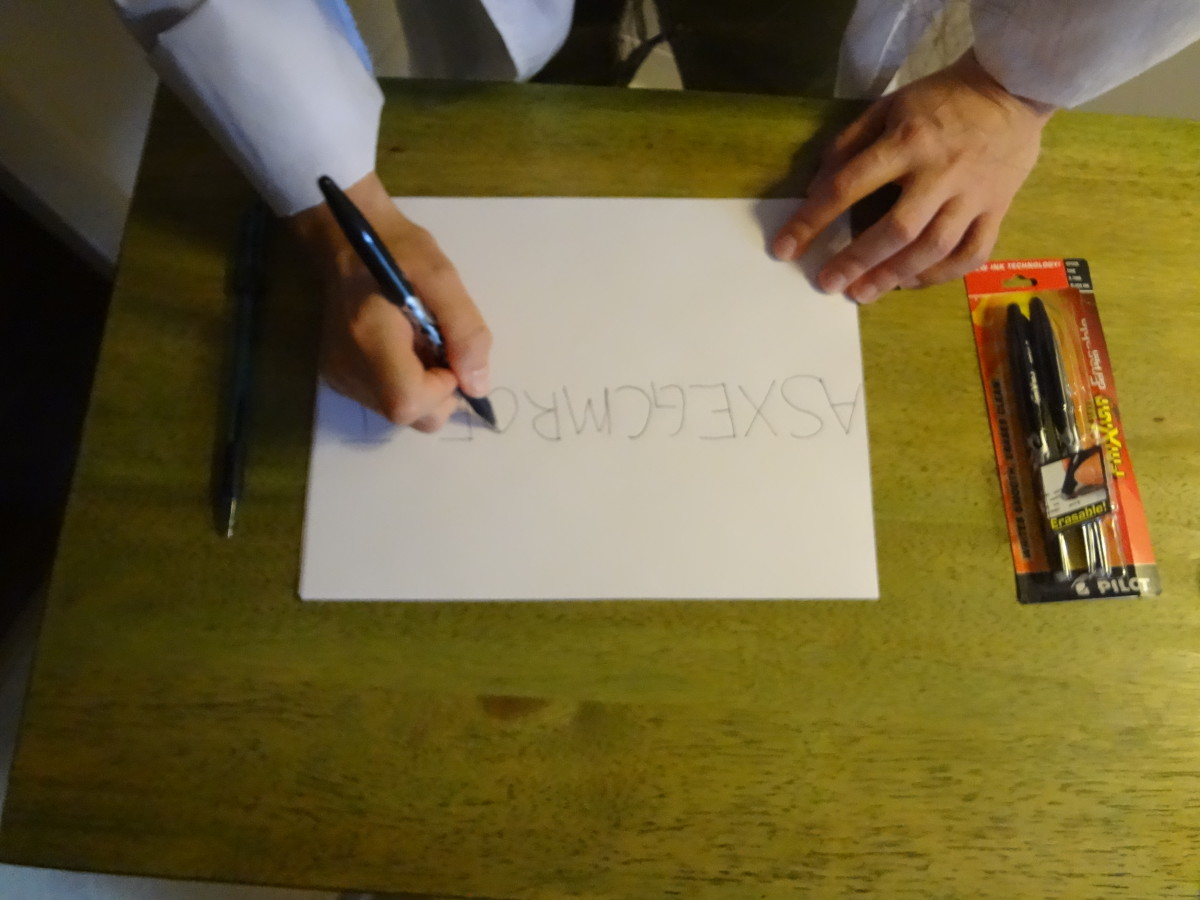 Fill in letters around the message with a friction pen to disguise the secret message.