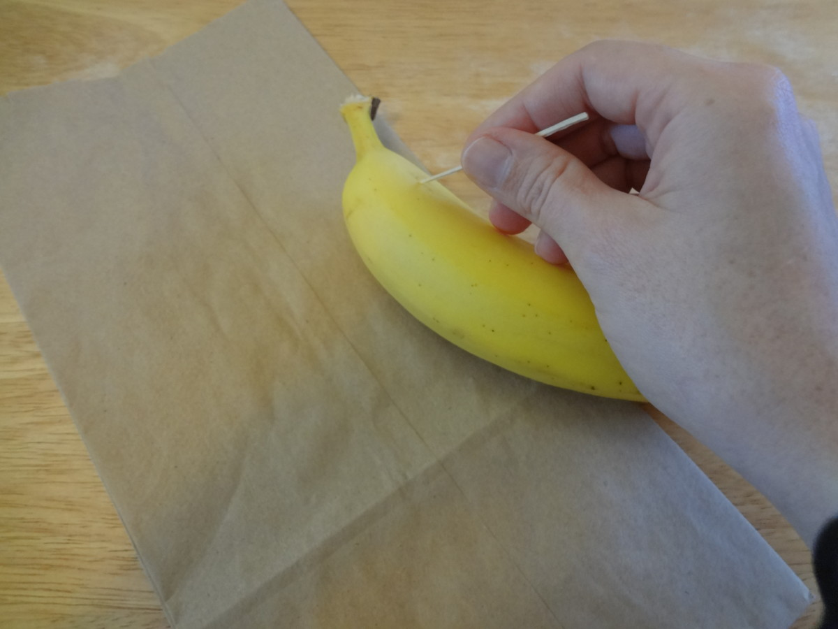 Use a toothpick to write your message. The message is almost invisible when you first write it on the banana.
