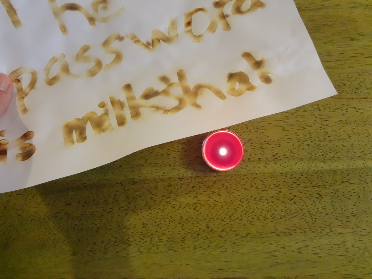 Hold it over a candle, and the secret message appears.