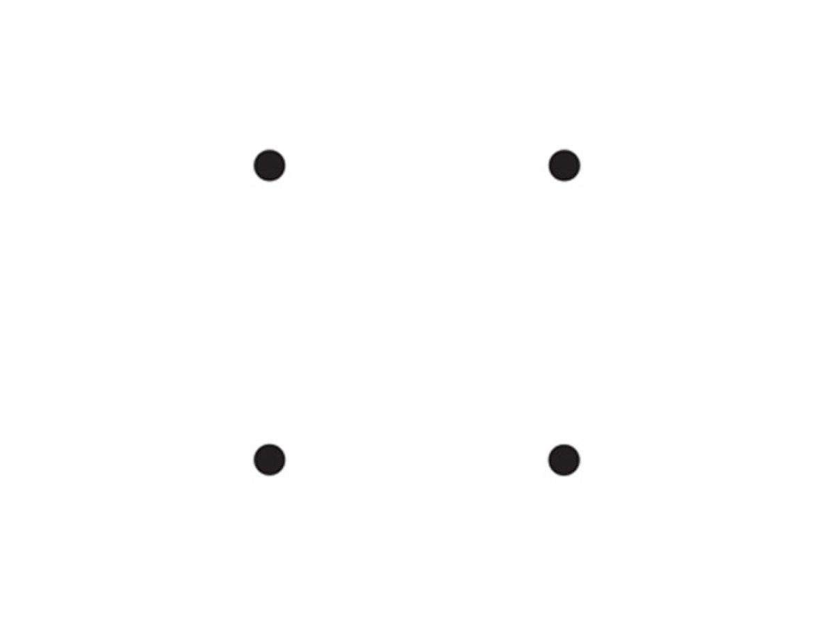 The problem: connect the four dots with three straight lines without lifting the point of your pen from the paper so that you finish at the spot where you began.
