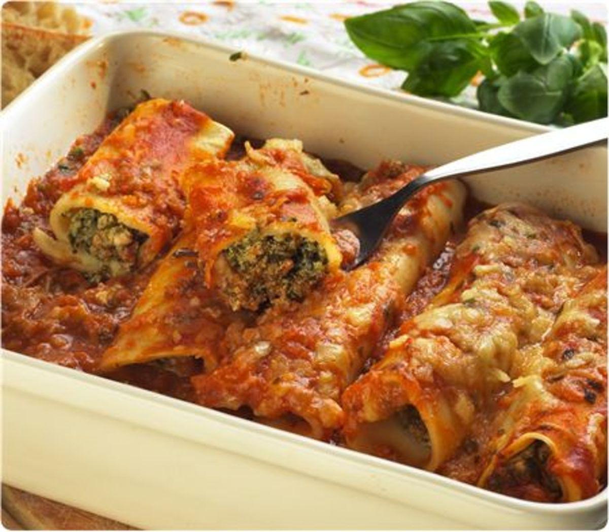 Cannelloni Au Gratin with Sardi's Sauce; revised recipe.
