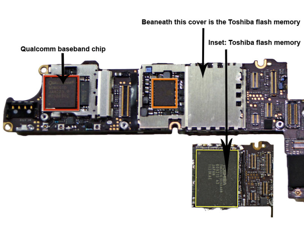 Image of iPhone Logic board where the modem baseband is located