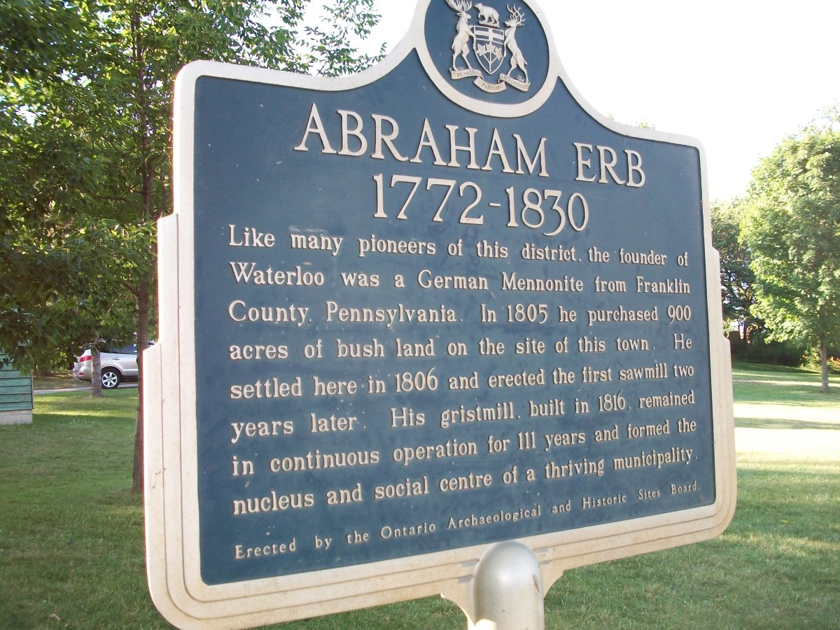 Historical plaque re. Abraham Erb (1772-1830), Waterloo Park