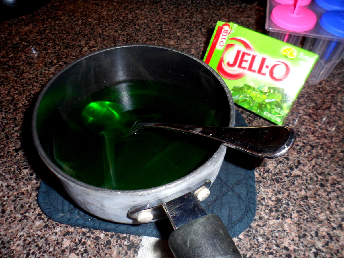 Add package of lime jello and stir well.