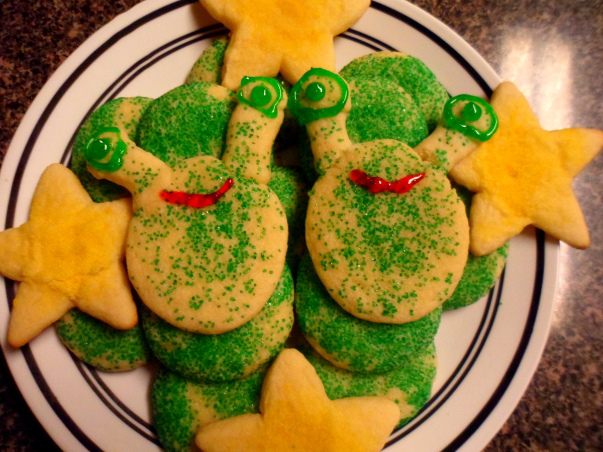 Our alien cookies with added eyes and mouth.