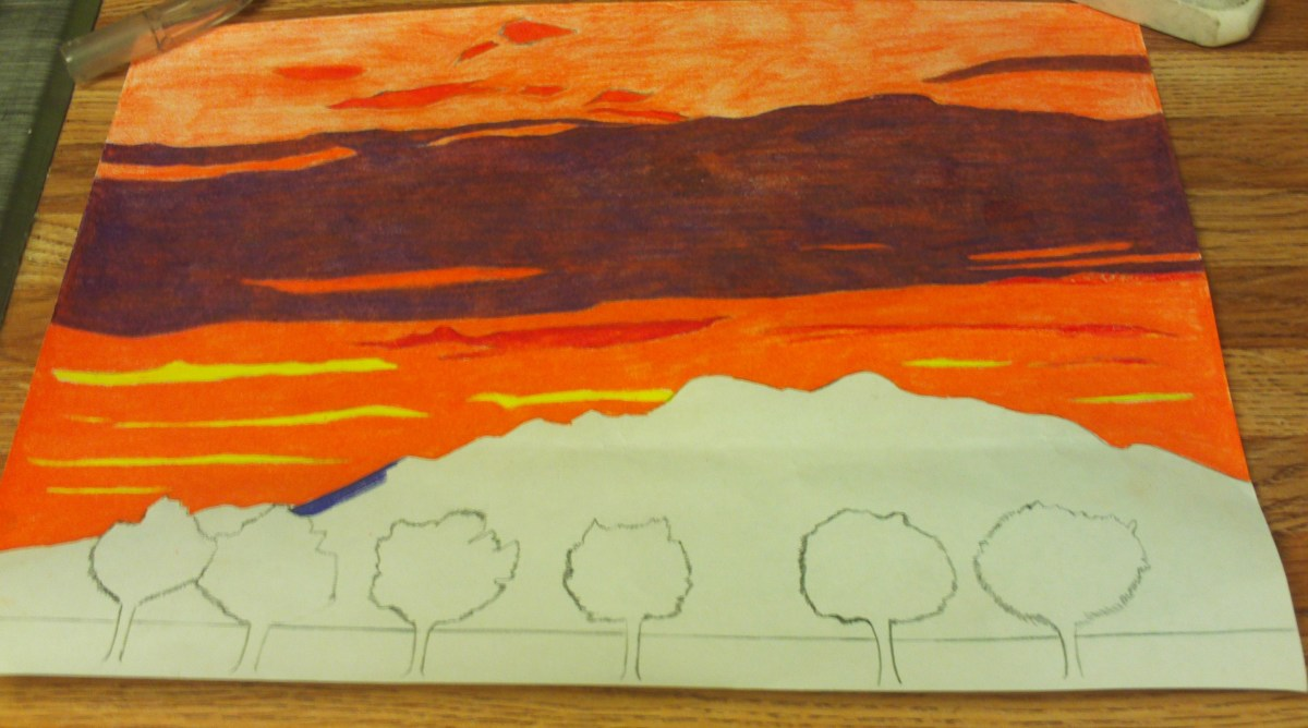 I colored in the lower portion of the sunset sky.