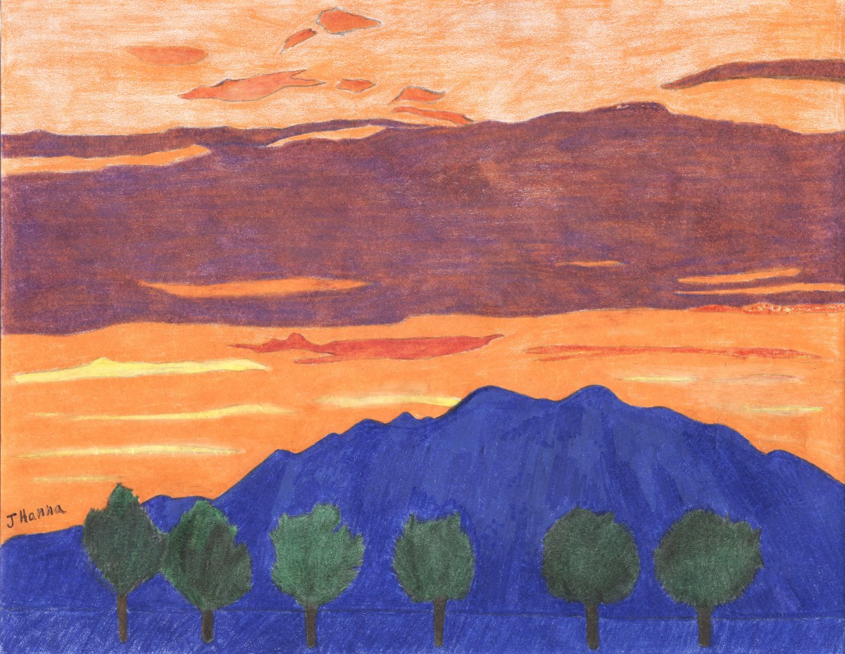 Colored pencil drawing of the sunset with the view of Mount Baldy.