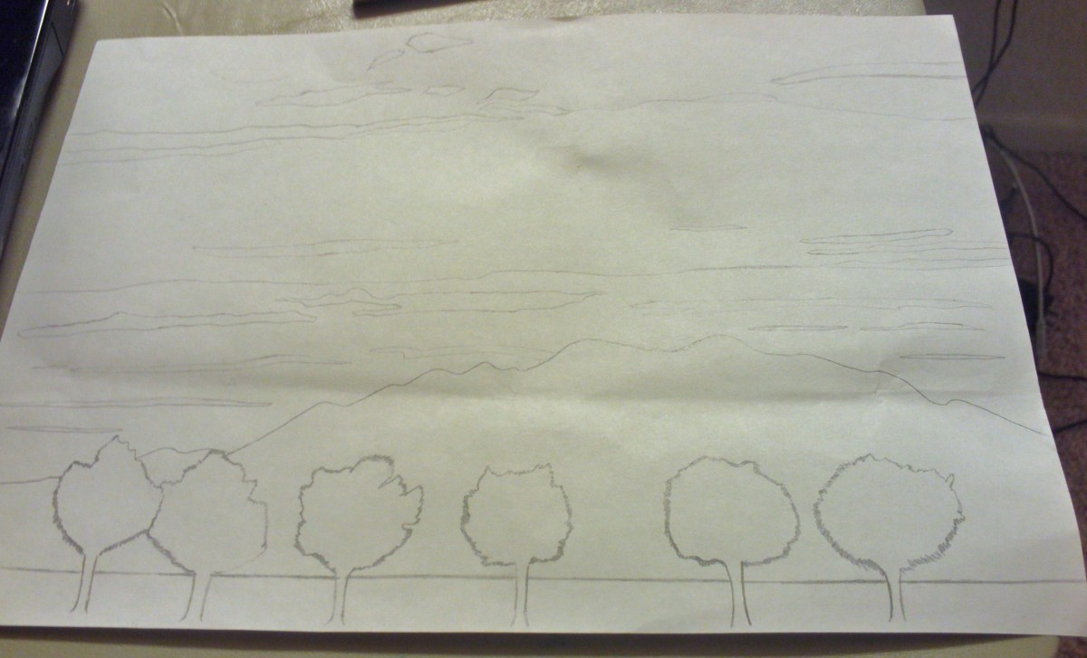 Here I drew the outline of Mount Baldy with a few trees in the foreground.
