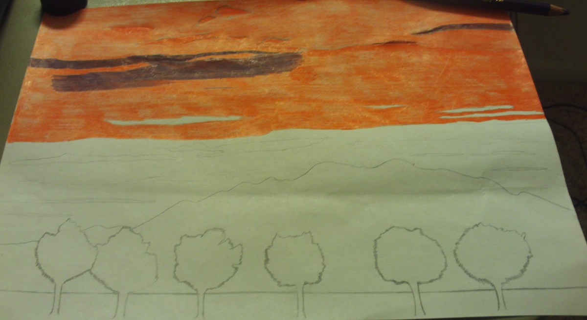 In this phase of the drawing I added the purple clouds to the sky.