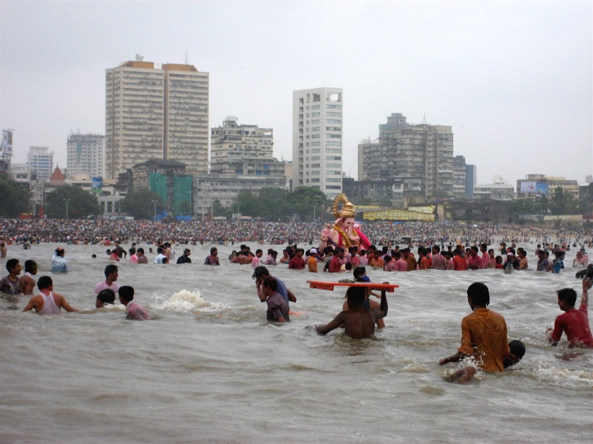 Ganpati visarjan(immersion) in the Arabian sea, in Mumbai