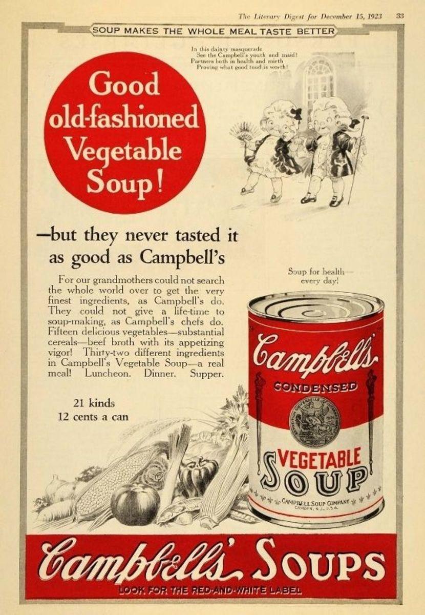 1923 Vintage 2-Color Ad Campbell's Vegetable Soup Kids - Original Print Ad