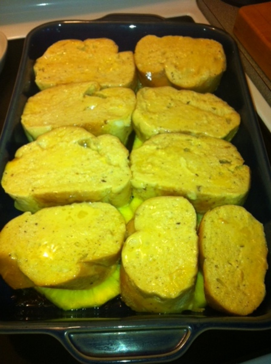 Lay soaked bread over top.
