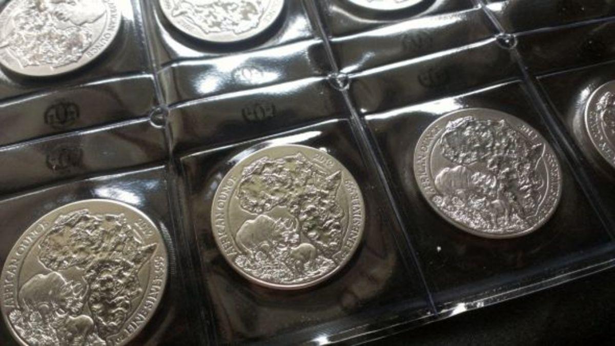 Sheet of Rwanda Rhinoceros Silver Coins