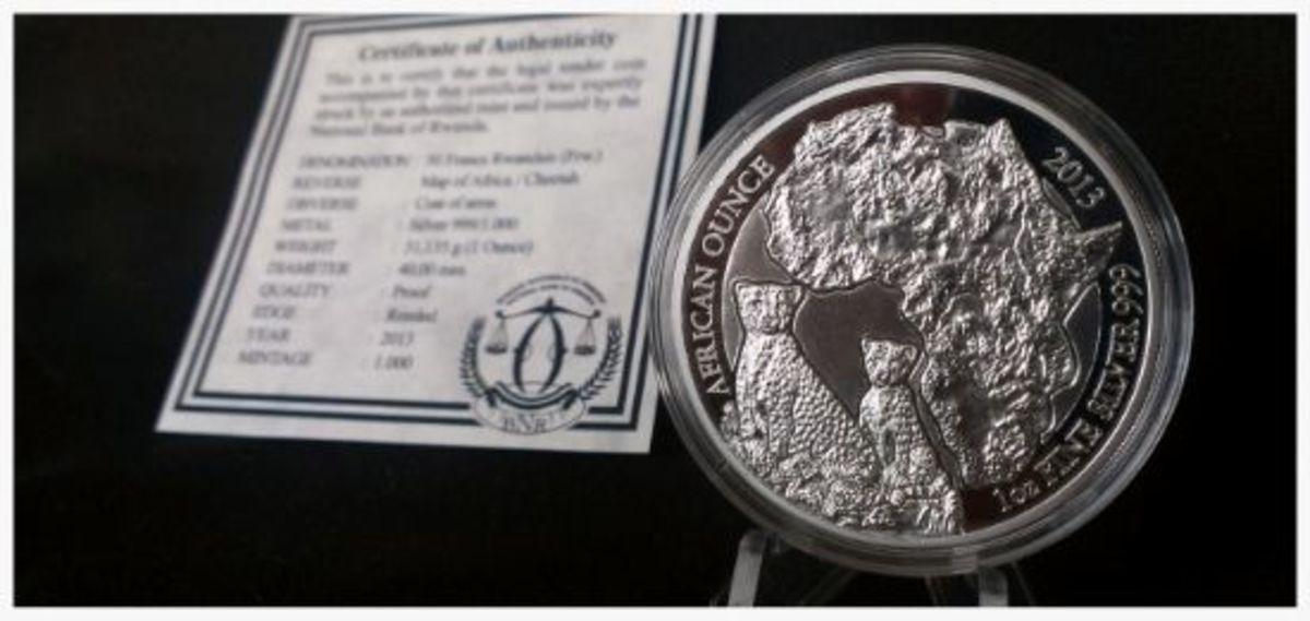 2013 Rwanda African Cheetah Proof 1 oz Silver .999 Fine Silver