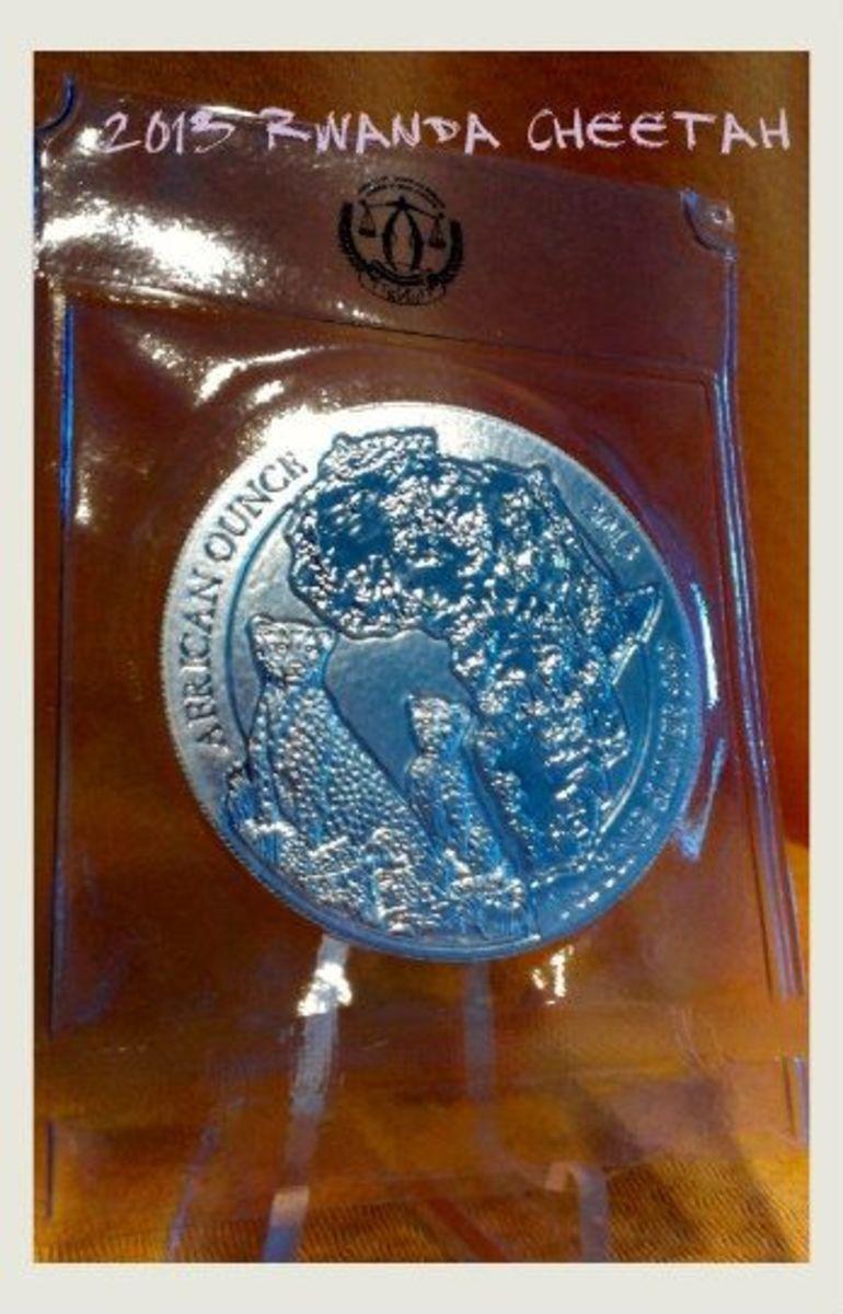 2013 Rwanda Wildlife Cheetah Silver Coin