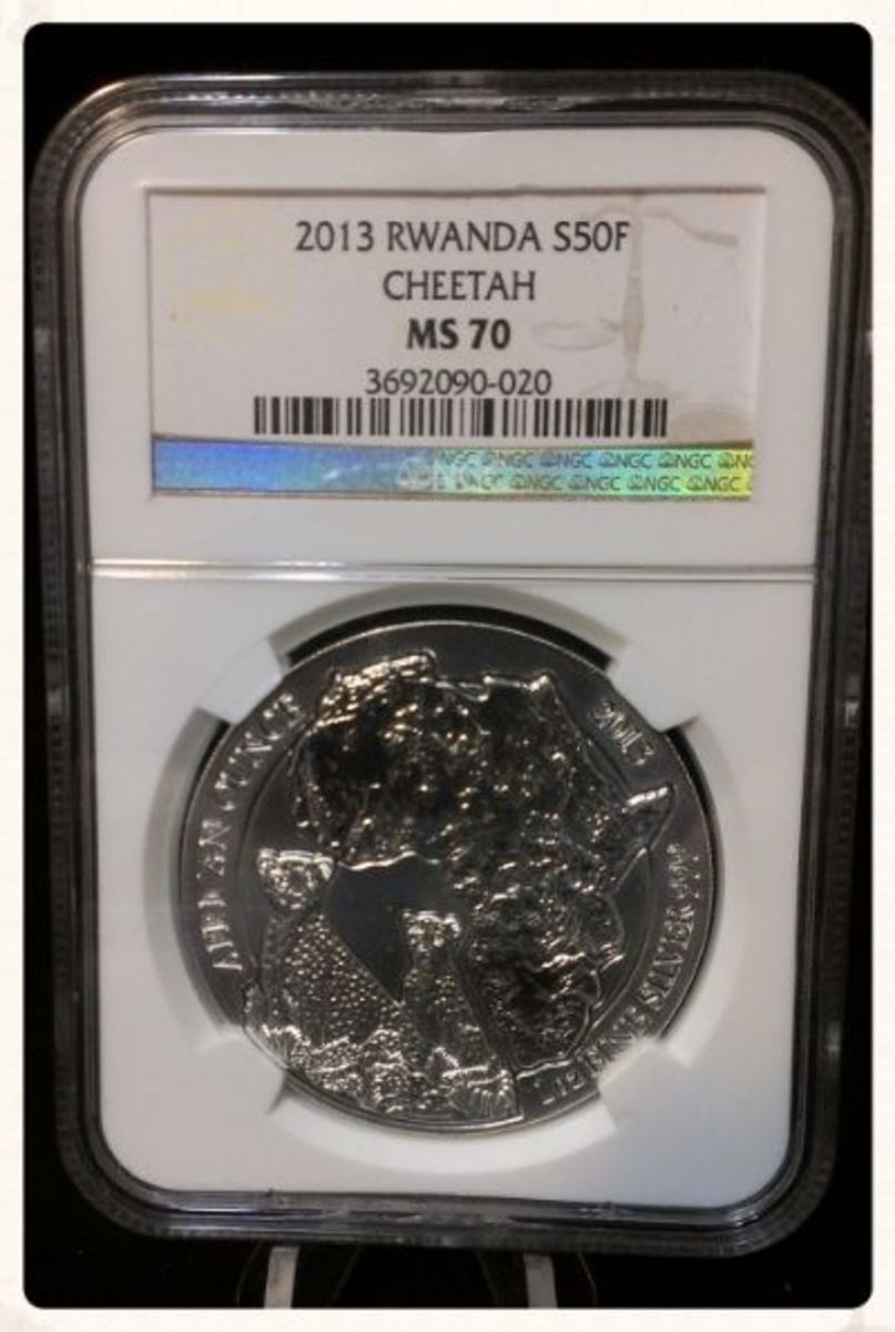 2013 NGC MS 70 1 oz Silver Rwanda African Cheetah