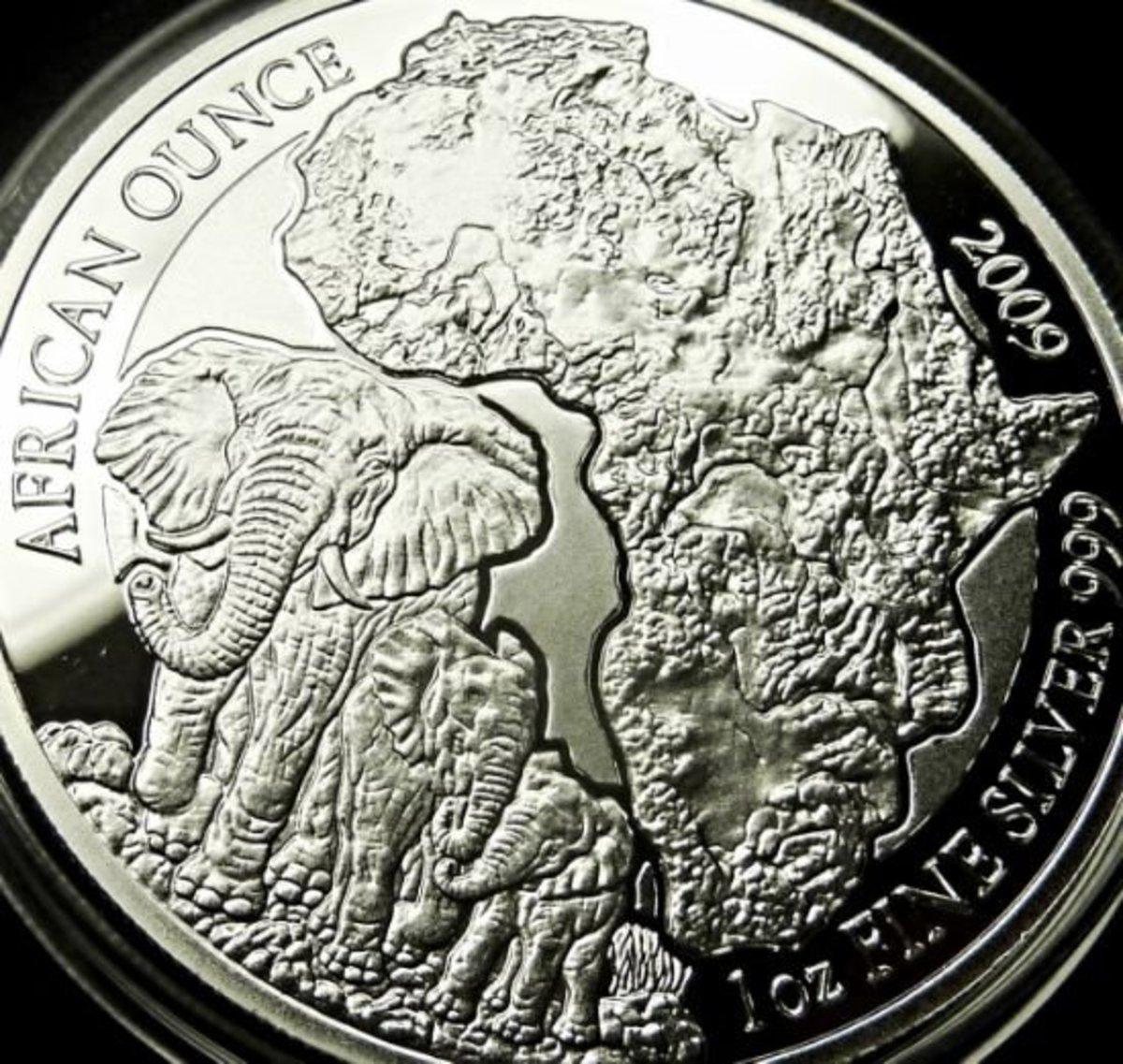 2009 Rwanda Silver Elephant Proof Coin