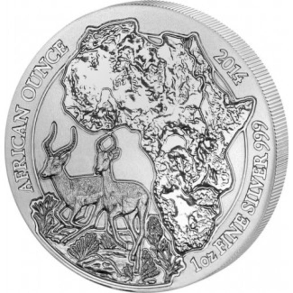 2014 Rwanda Impala Silver Coin