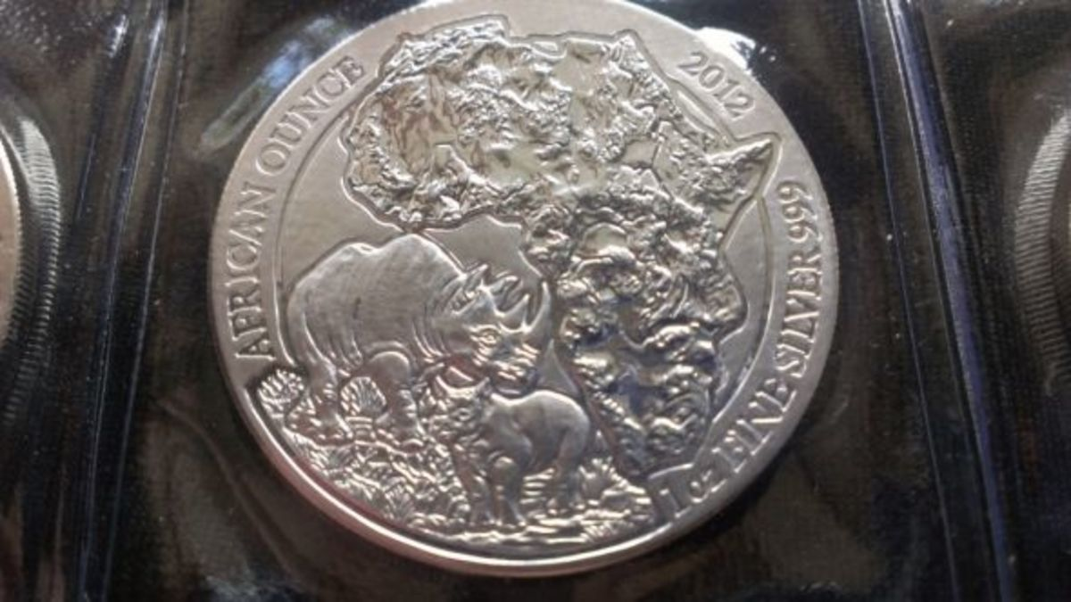 Rwanda Rhino Silver Coin of 2012