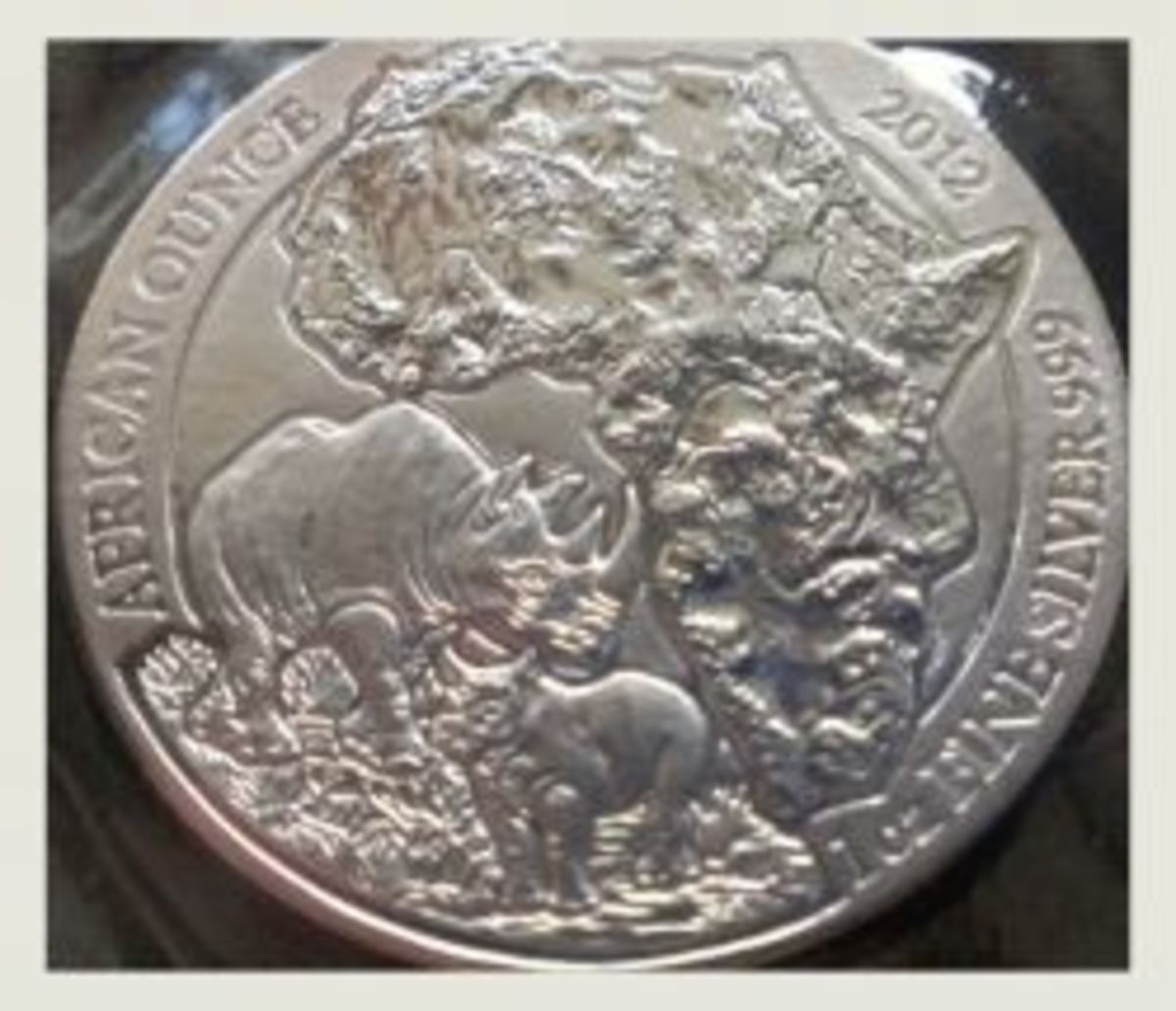 2012 Rwanda Silver Rhino Silver Coin