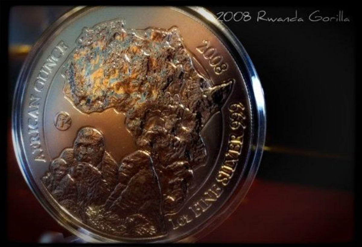 2008 Rwanda Wildlife Gorilla Silver Coin