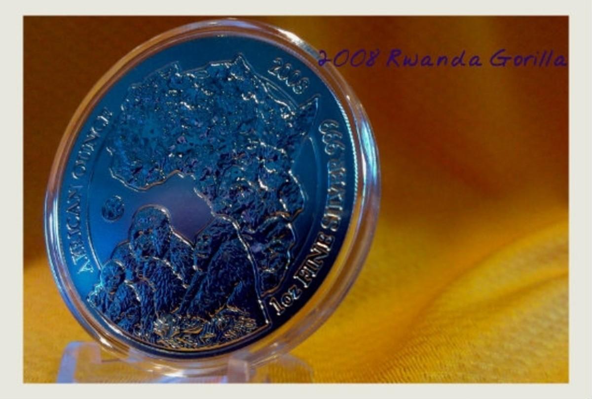 2008 Rwanda Silver Gorilla Coin