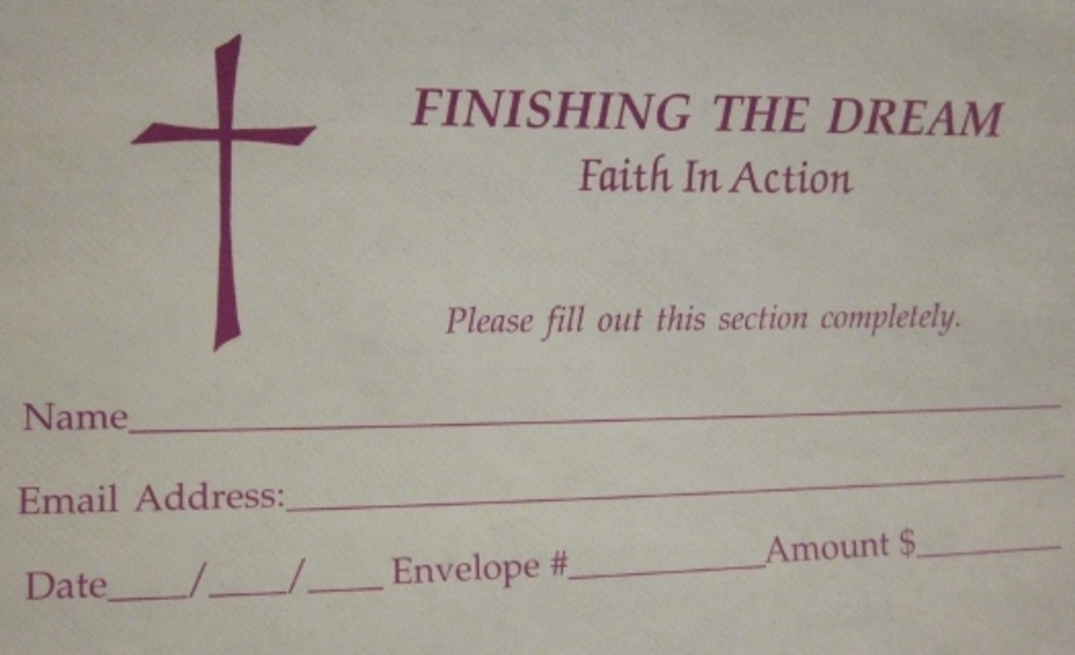 Weekly church envelopes give structure to giving and tithing.