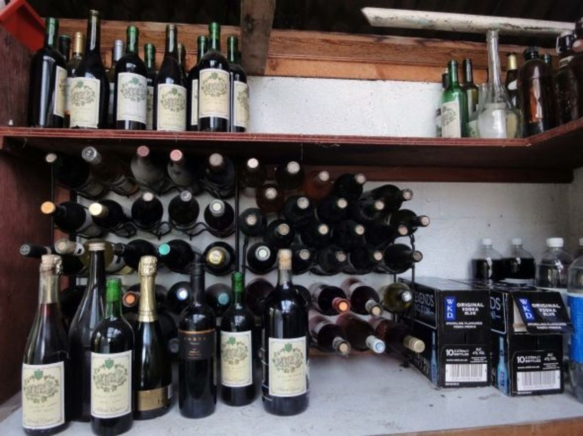 Wine rack in our garden shed