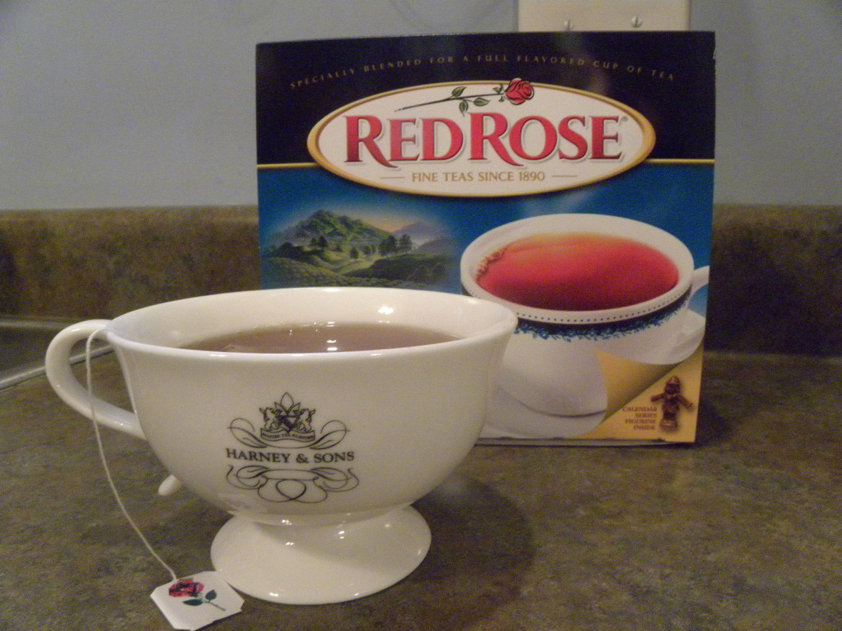 A cup of Red Rose tea steeps, waiting to be enjoyed