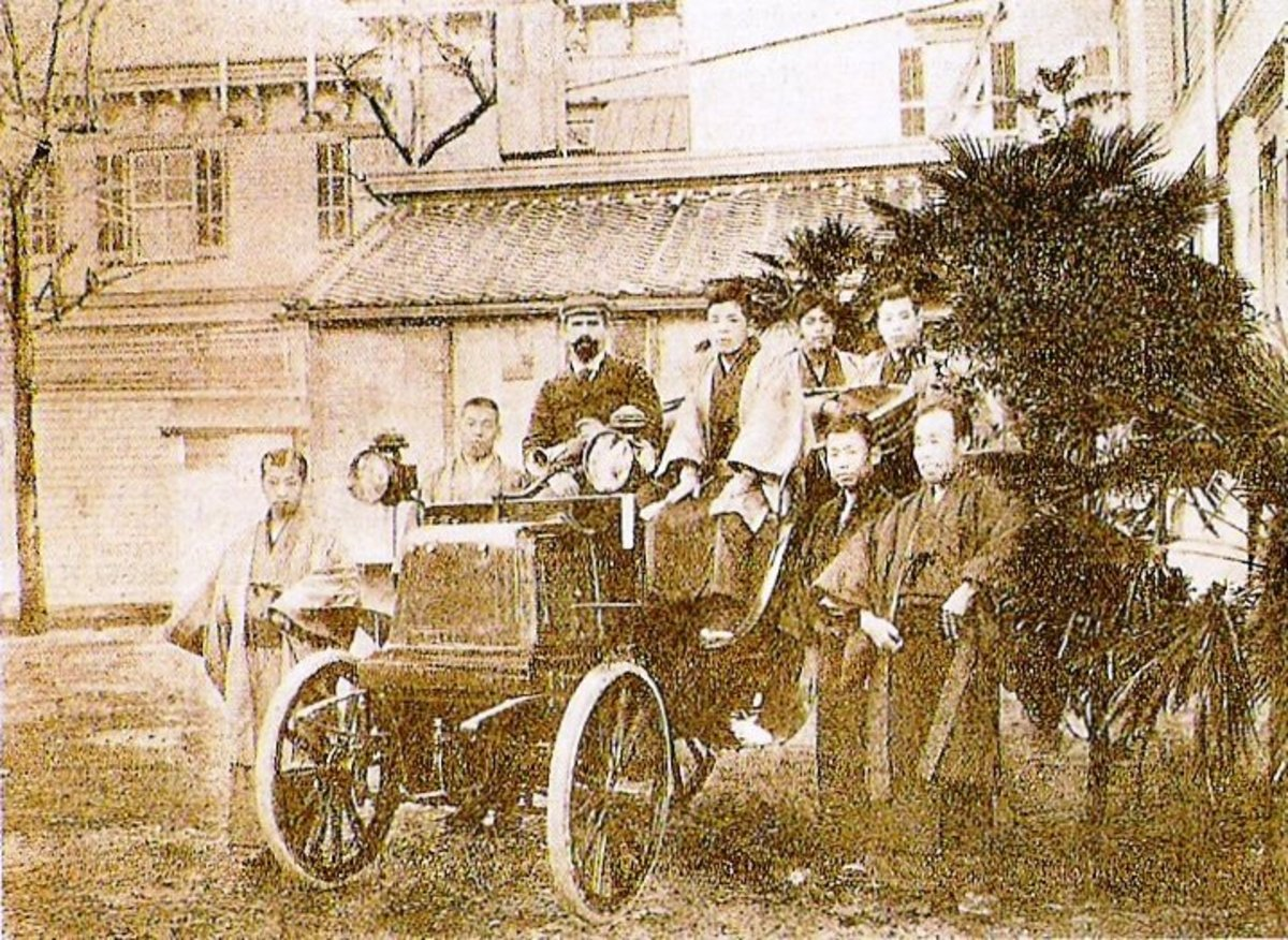 "Photos and captions can provide background for articles/stories. This is a photo of  the first automobile in Japan, a Panhard. Published in ""La France Automobile"" in 1898."