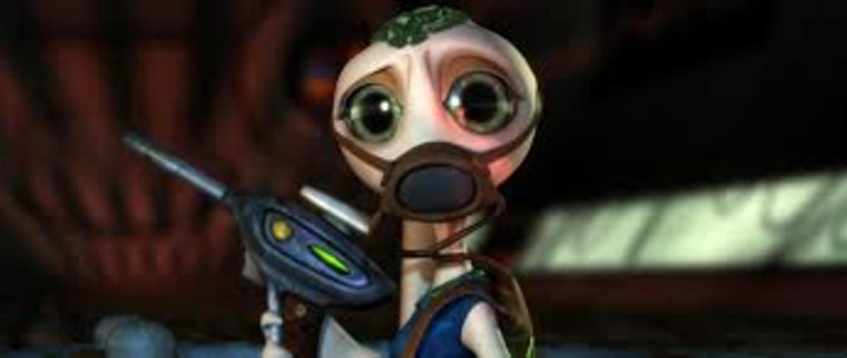Yes, this is an alien wearing a gas mask and toting a gun because that makes for great children's entertainment.