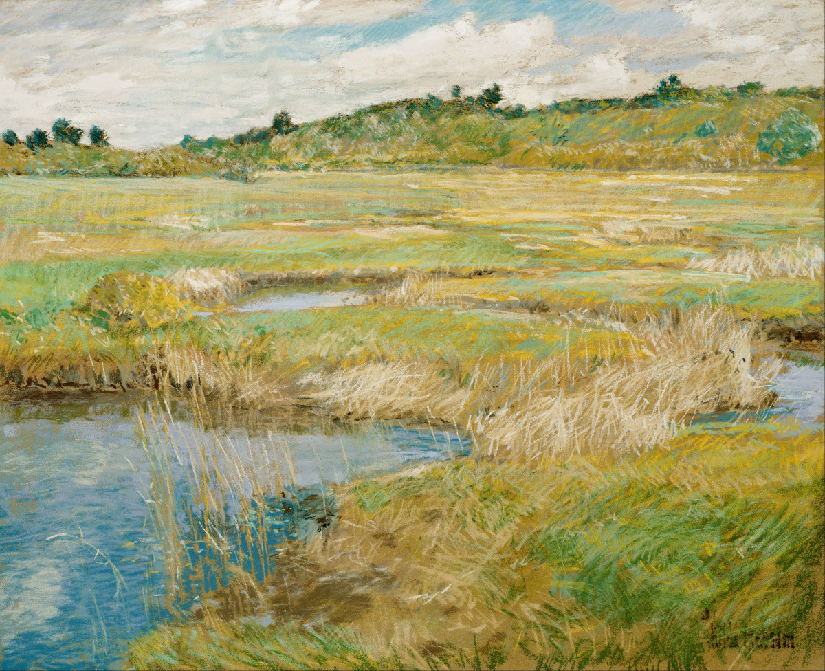 The Concord Meadow (c. 1891) by Childe Hassam pastel and gouache on canvas; 45.72 × 56.21 cm (18 × 22.1 in)