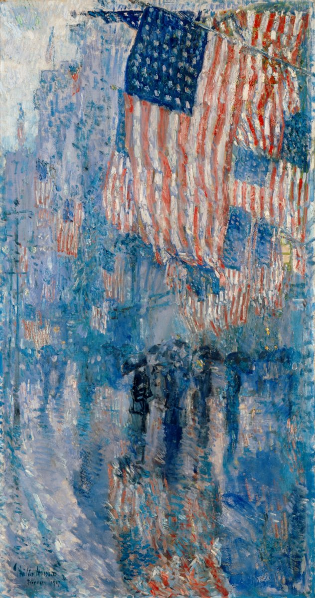 """The Avenue in the Rain,"" by the American painter Childe Hassam.  oil on canvas, 42 in. x 22.25 in. Courtesy of The White House Collection, The White House, Washington, D. C."