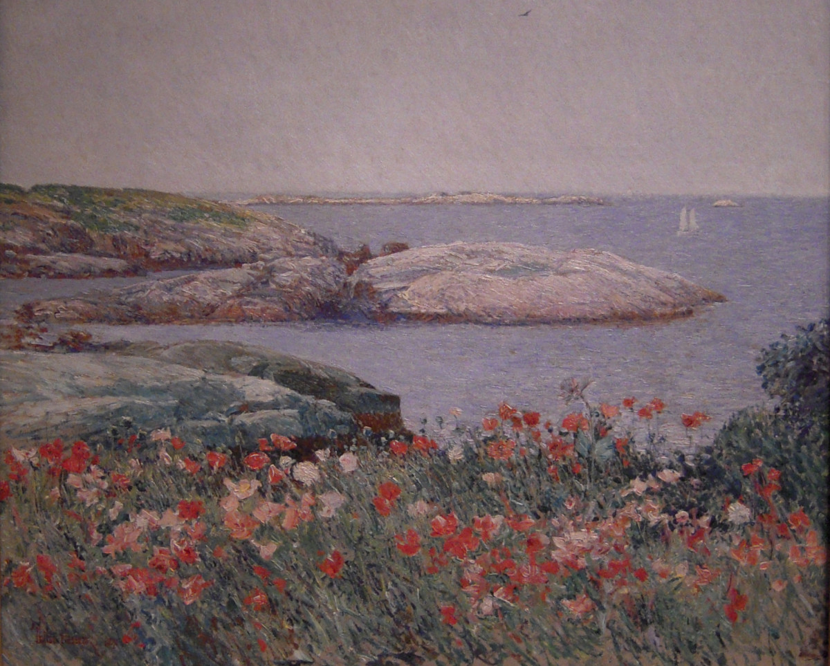 Childe Hassam's painting Poppies, Isles of Shoals, (1891). Hanging at the National Gallery of Art in Washington D.C.
