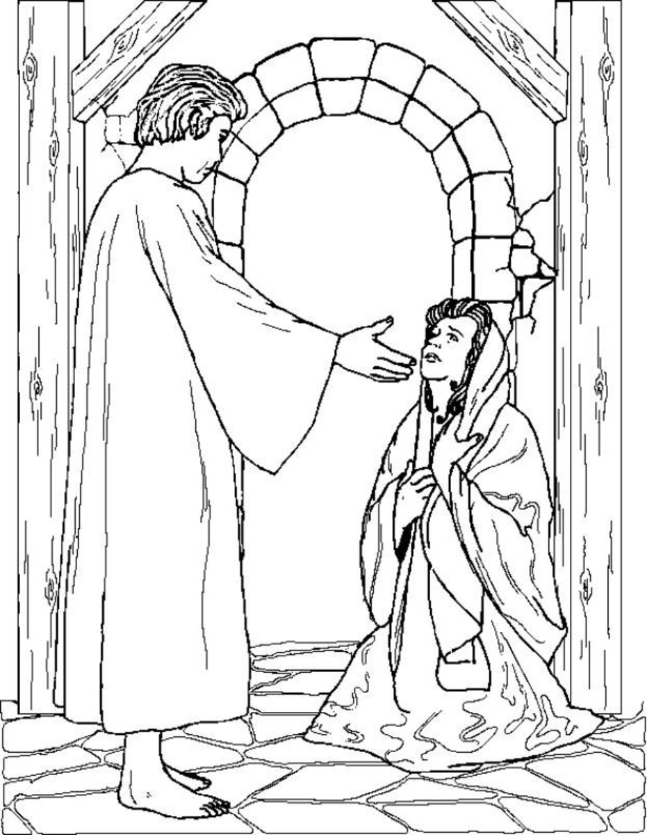 Christmas angel printables for Angels announce jesus birth coloring pages