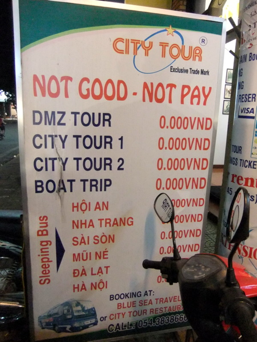 In my hunt for funny and humorous signange in Vietnam I found this 'Cheap travel in Vietnam' signboard