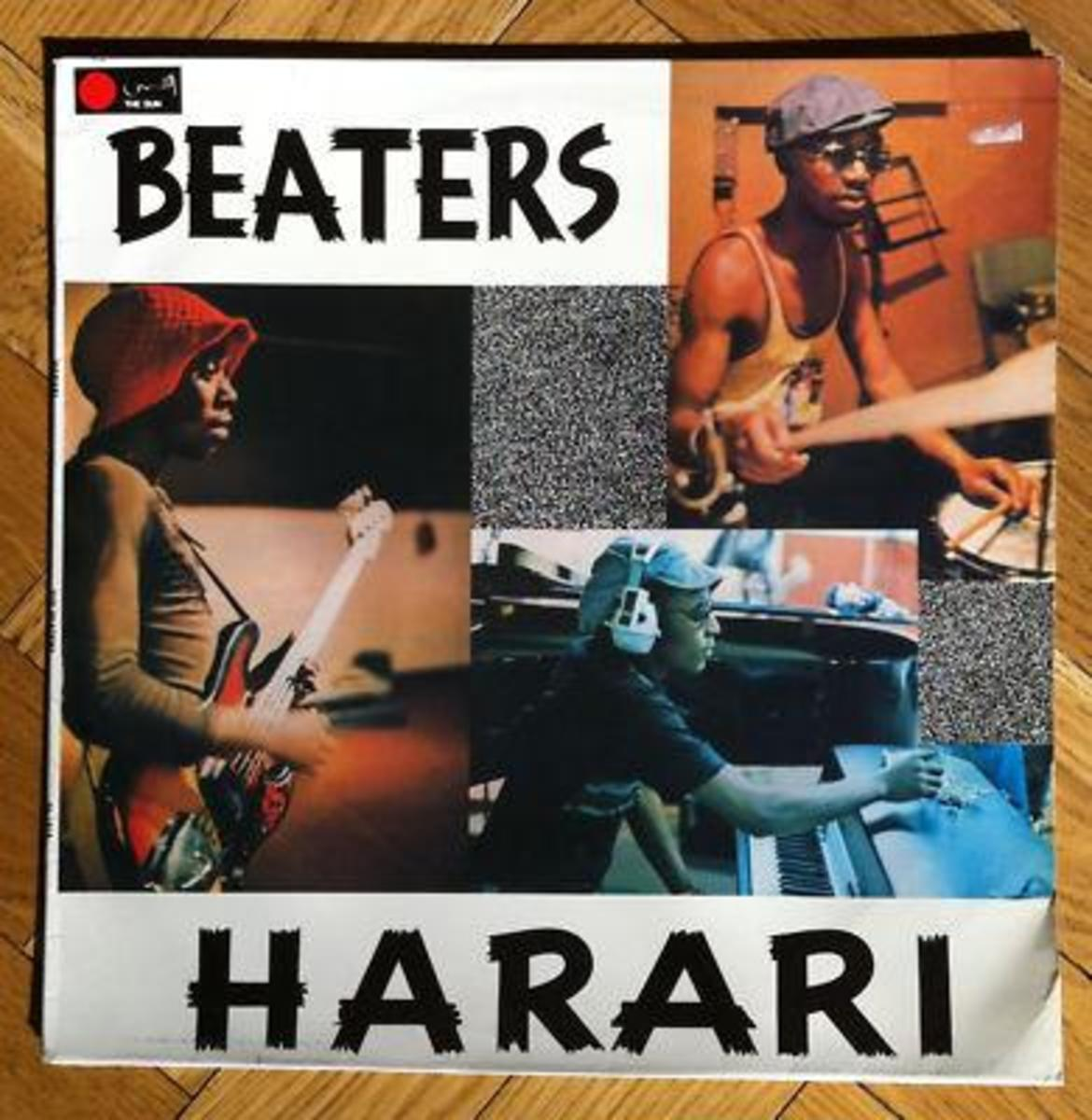 When the Beaters chaged their name to Harari- on album cover - from left to right- Alec Khaoli(red Hat; Selby Ntuli, on keyboards and Sipho Mabusi on drums(not in Picture is Saitana)
