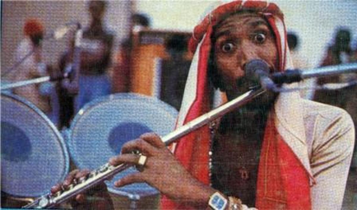 "Sipho ""Hotsticks"" Mabuse paying flute during his days with Harari"