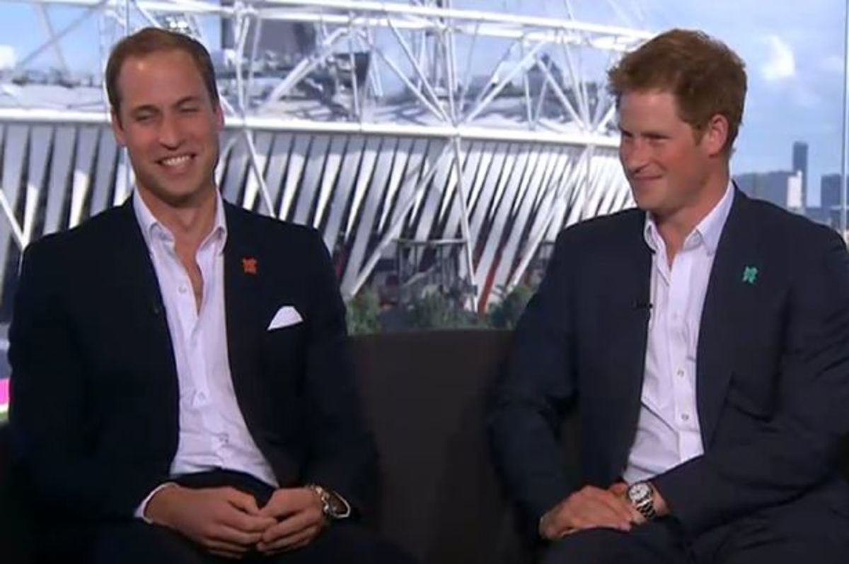 Brothers William and Harry, sat next to one another both wearing the respective watches discussed below.