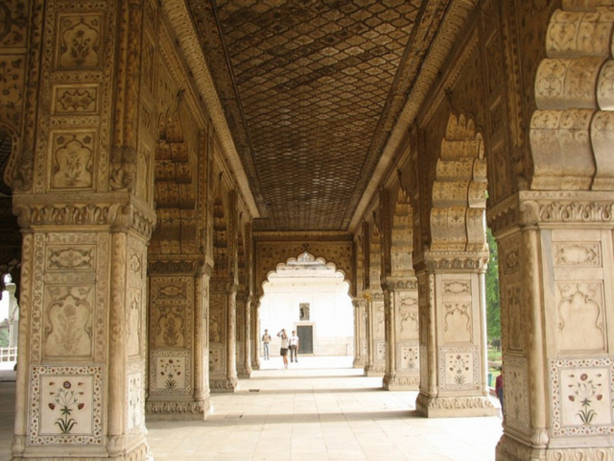 Intricately Carved Marble Structures inside Rad Fort, Delhi